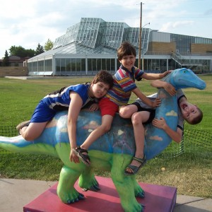 Boys on Dinosaur
